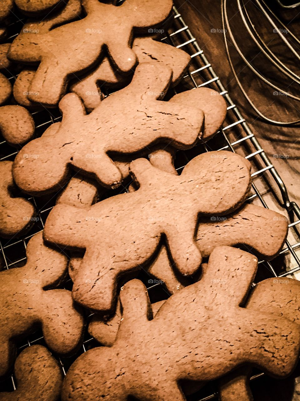 Gingerbread men fresh out of the oven. Yummy is on its way.
