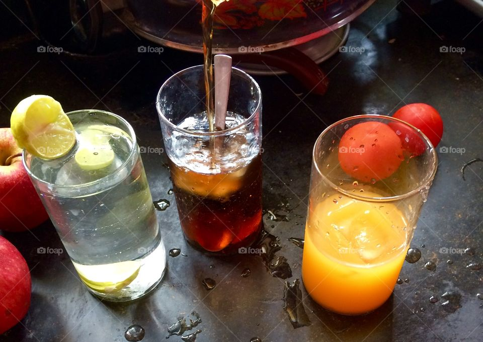 Fruit juices in glass