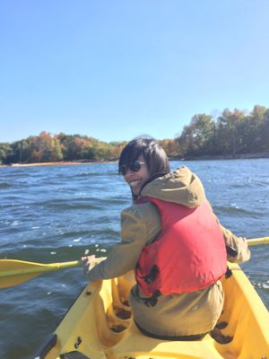 Smile. . This is my friend. She was always scared of water but she overcame it to go kayaking with me. I'm glad I got to share it