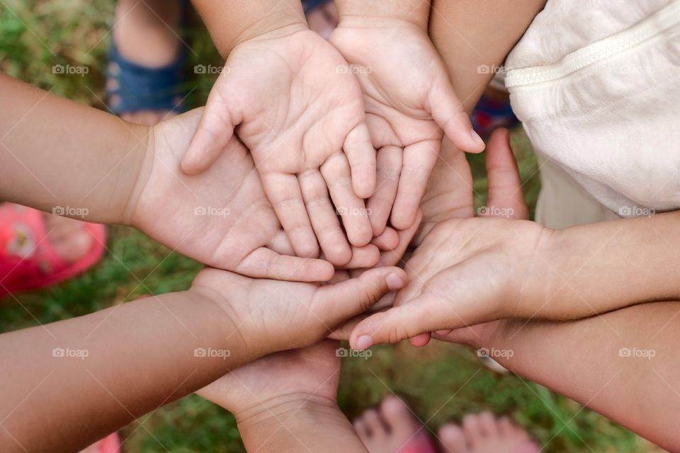 Children's open hands with palms facing up