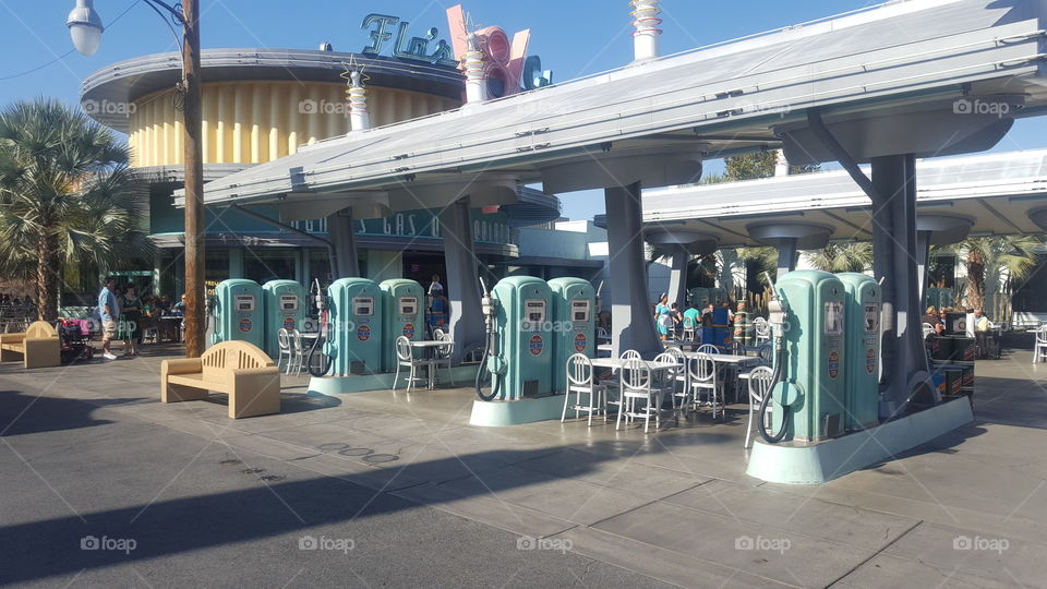 Gas Station at Disney California Park.