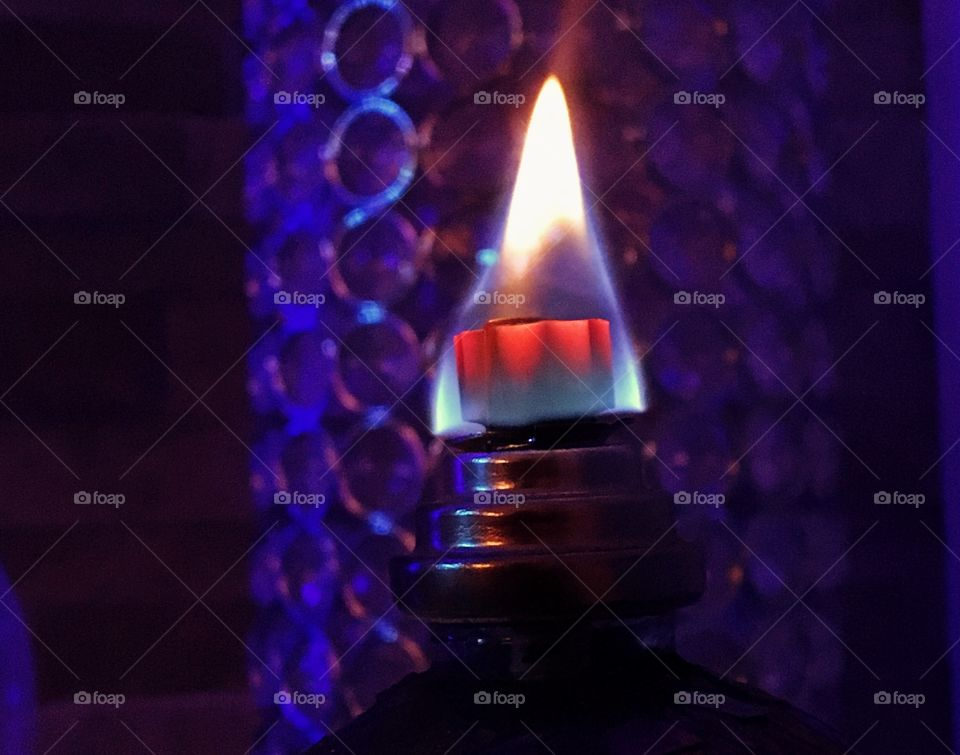 Flame on an oil lamp