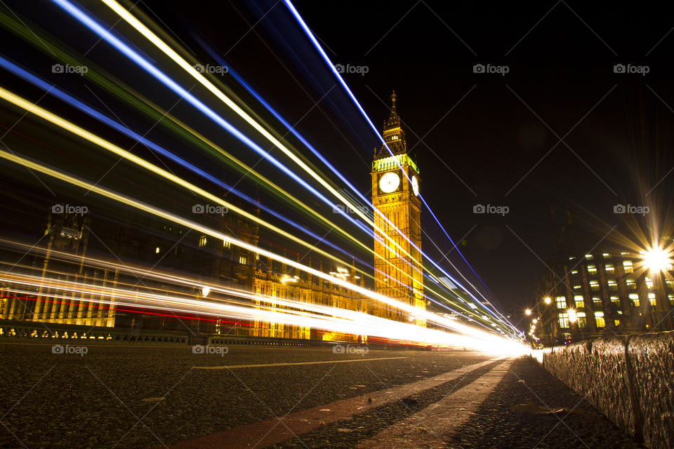 Light trails on the Westminster bridge at night