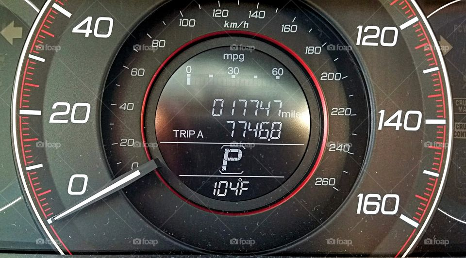 Speedometer. Speedometer showing high outside temperature!