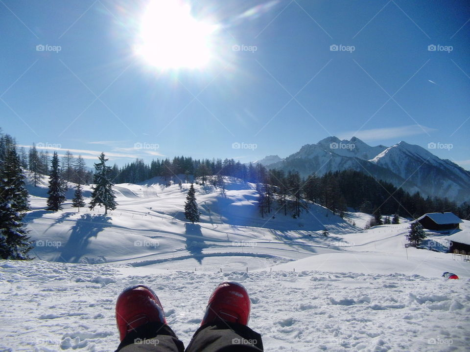 snowboard boots on the moutain