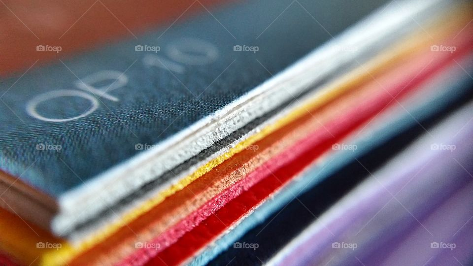 Close-up of different colors of fabrics