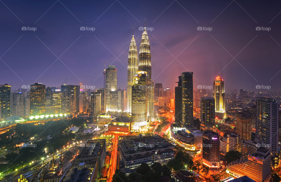 Kuala Lumpur in blue hour. Magnificent view of Kuala Lumpur City Centre during blue hour