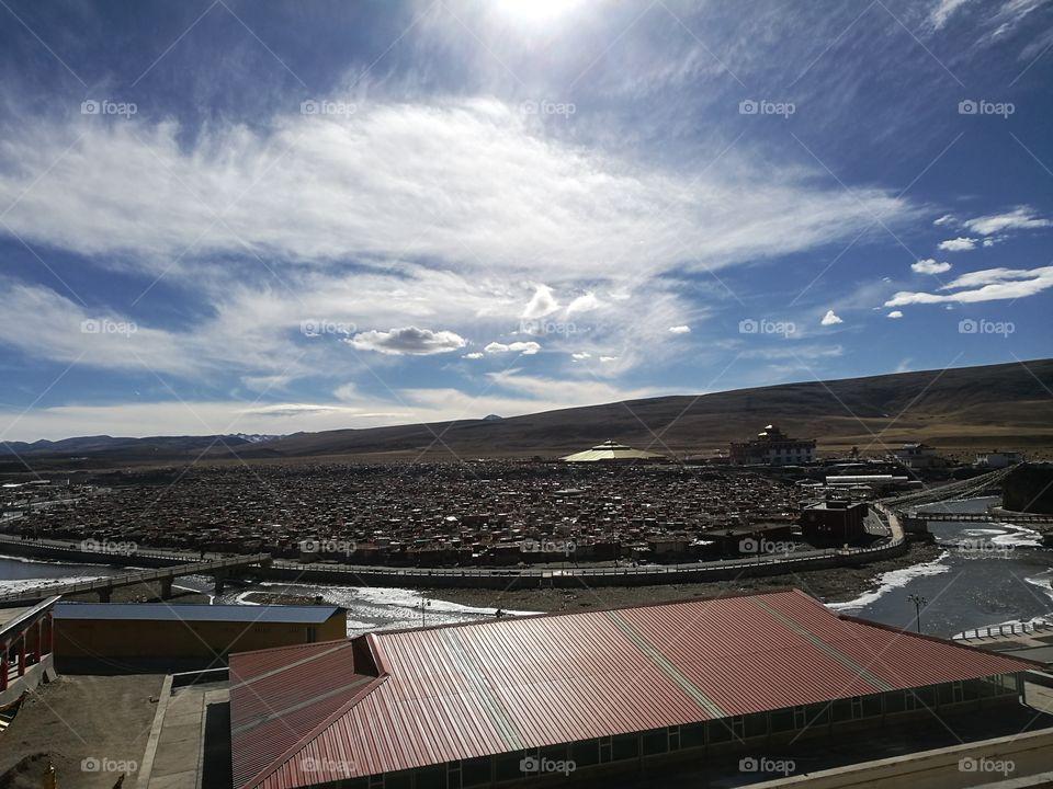 Yaqing Tibetan Buddhist Monastery for Nuns  Buddhism School and Monastery in Ganzi, Sichuan Province, China.