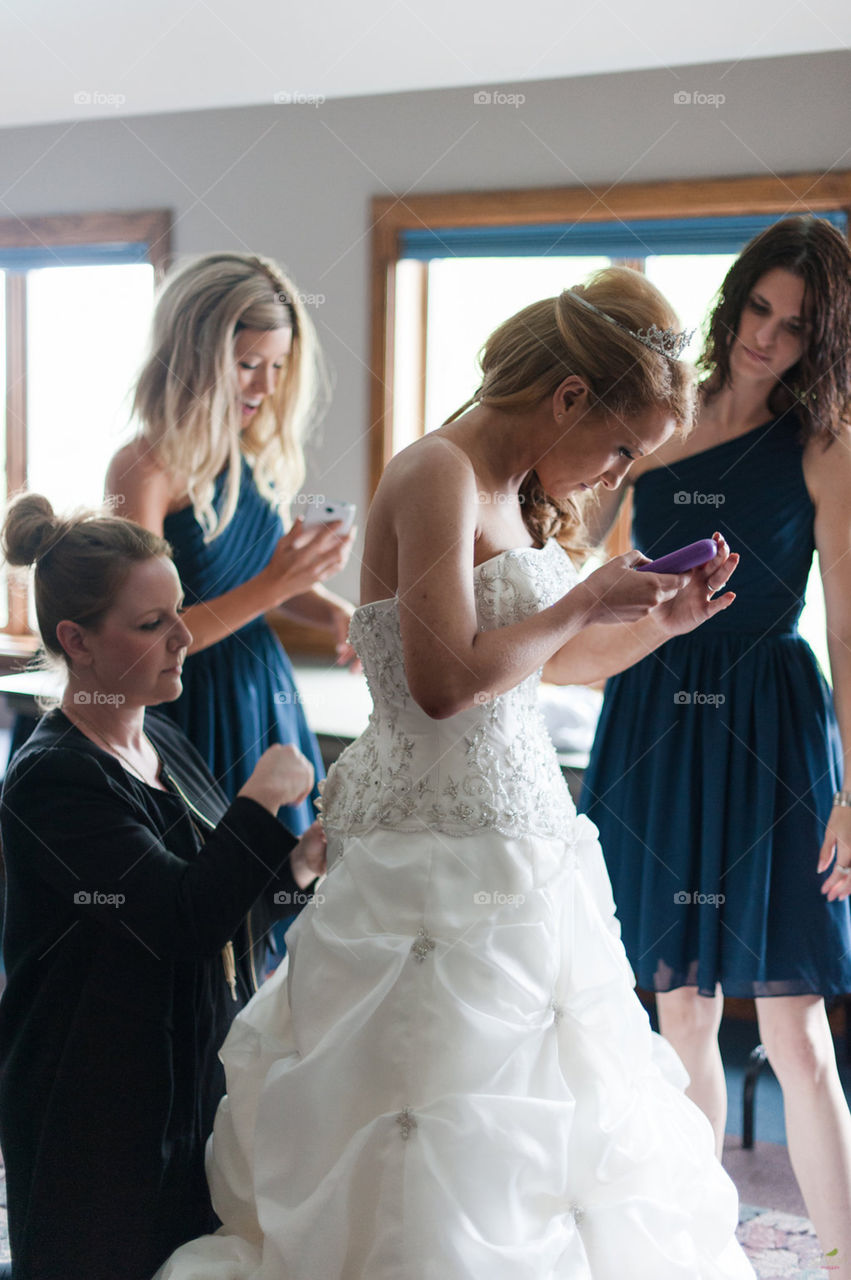 """Share Your Personal Story!  Hello  Foapers! In this photo you seemy 2 bridesmaids and I on my wedding day. The device that I am holding is my insulin pump. About 5 minutes before I walked down the aisle, my blood sugar started to drop. I am a type 1 diabetic and have been for over 27 years. but in the last 10 years, my health has deteriorated drastically due to multiple comorbidities. I had to hold or the most part, you wouldn't be able to see it from the outside; however, on the inside it's a different story. In 2010, the doctors and I decided to take the radical step and have pancreas transplant. The surgeons left my original pancreas inside and attached a new one above and below it so that it overtook the stress and duties of the 1st  2013, my transplant failed and stopped producing insulin. I went back to being a diabetic, now with severe gastroparesis, retinopathy (actively  going blind). Some days are great while others can be pure Hell. This year already I've been hospitalized 3 times  & revived twice by my husband Derek Robinson. He has been my rock since the loss of my transplant and am now considered legally blind.  Yes,you read that right. According to the AMA, I don't have enough Vision to drive therefore I am considered """"Legally Blind"""". Crazy  being the blind photographer & painter, but I refuse to let diabetes, pancreatitis and gastroparesis take my passions away from me!  someone a few weeks back called me a """"hero"""" because of what I've gone through and still accomplished,  I'm definitely a Survivor. A survivor of things that most people will never experience in four lifetimes, let alone a decade. Needless to say, my life is a never-ending uphill battle. I implore you to visit my Facebook group: Pathway To A Pancreas 💙, where I keep my 3k followers up on the latest technology for diabetic & transplant patients! If I can help ONE person to not give up hope & achieve their dreams during times of such adversity than I have achieved my Life's Purpose! 💙"""
