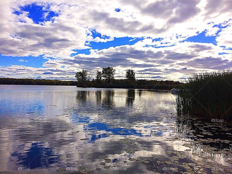 Reflection of clouds on lake