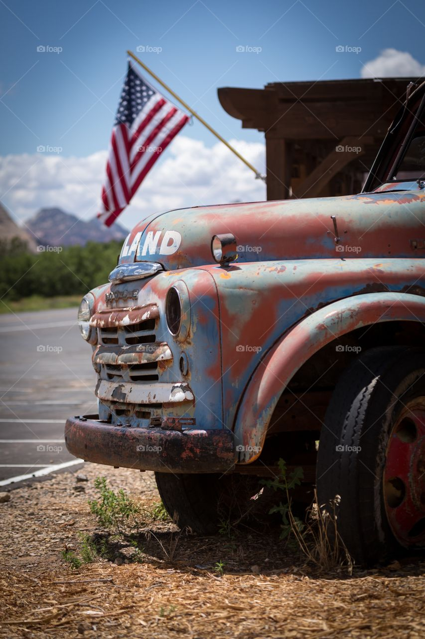 Old truck near by highway