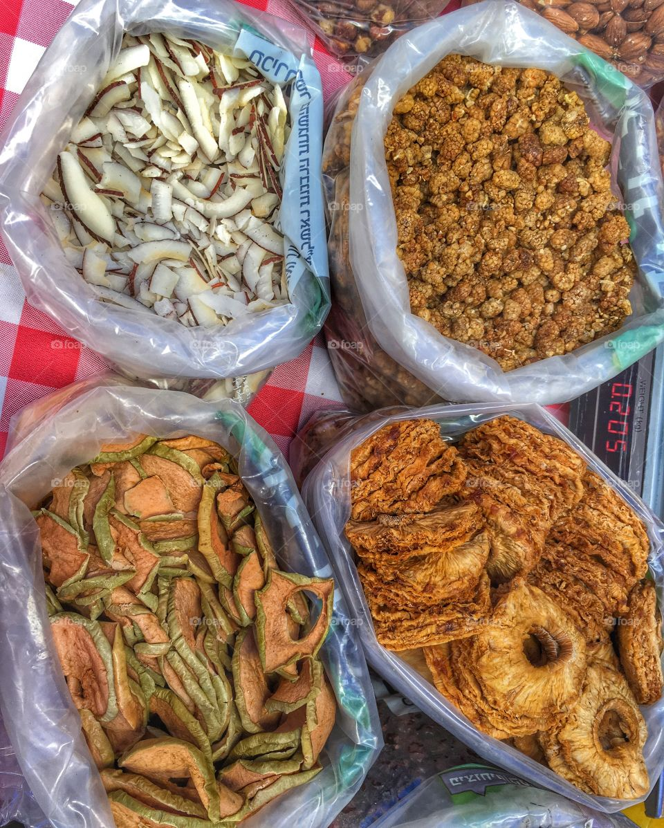 Dried fruits from market