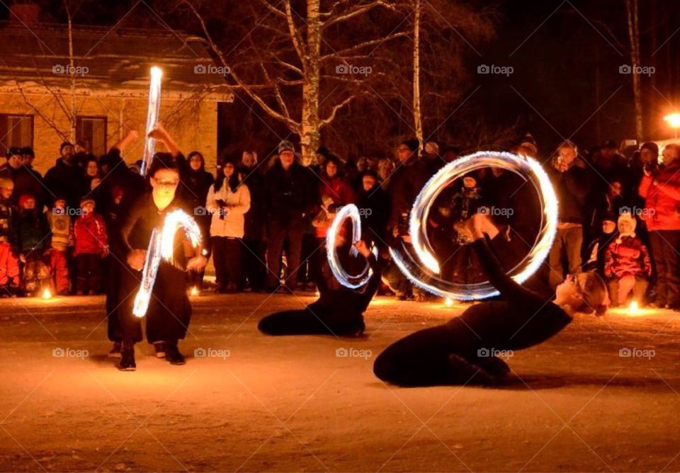 winter people fire art by paula