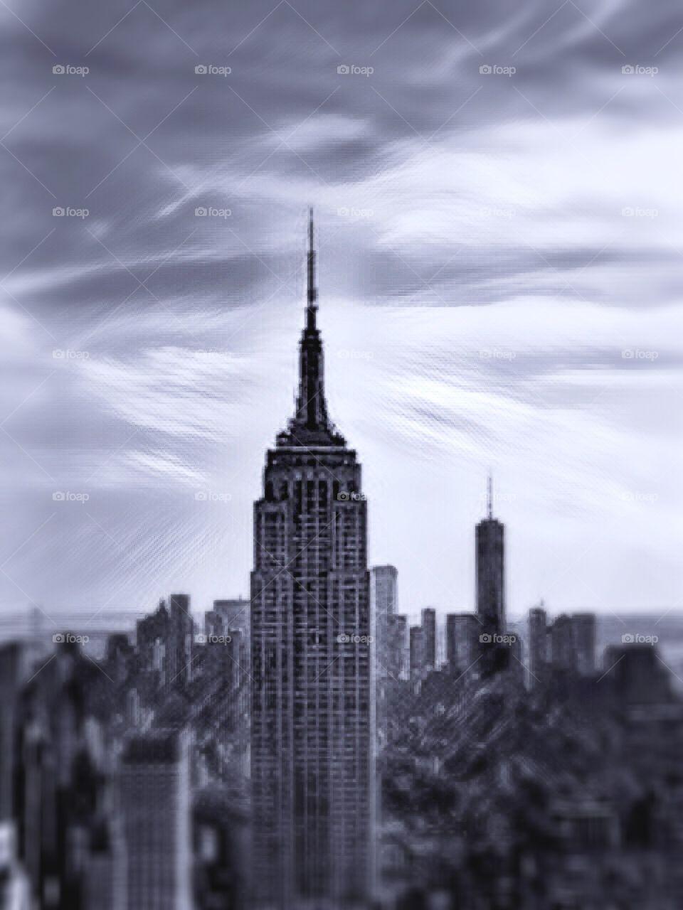 City Skyscraper, Architecture , Black - and - white photo.