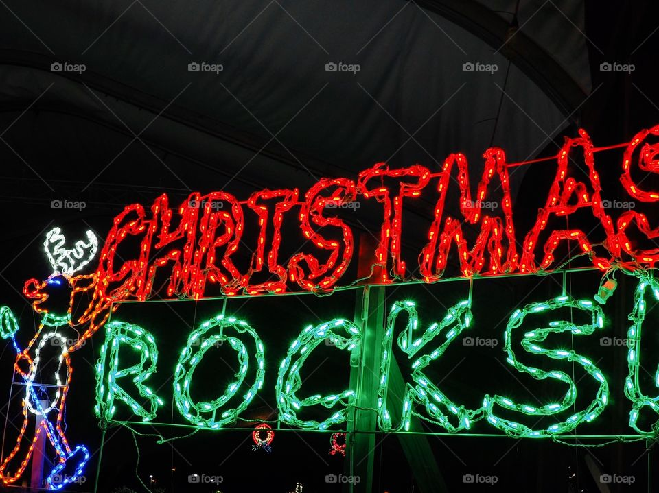 "A reindeer with ""Christmas Rocks"" sign made out of red and green Christmas lights lit up after dark."