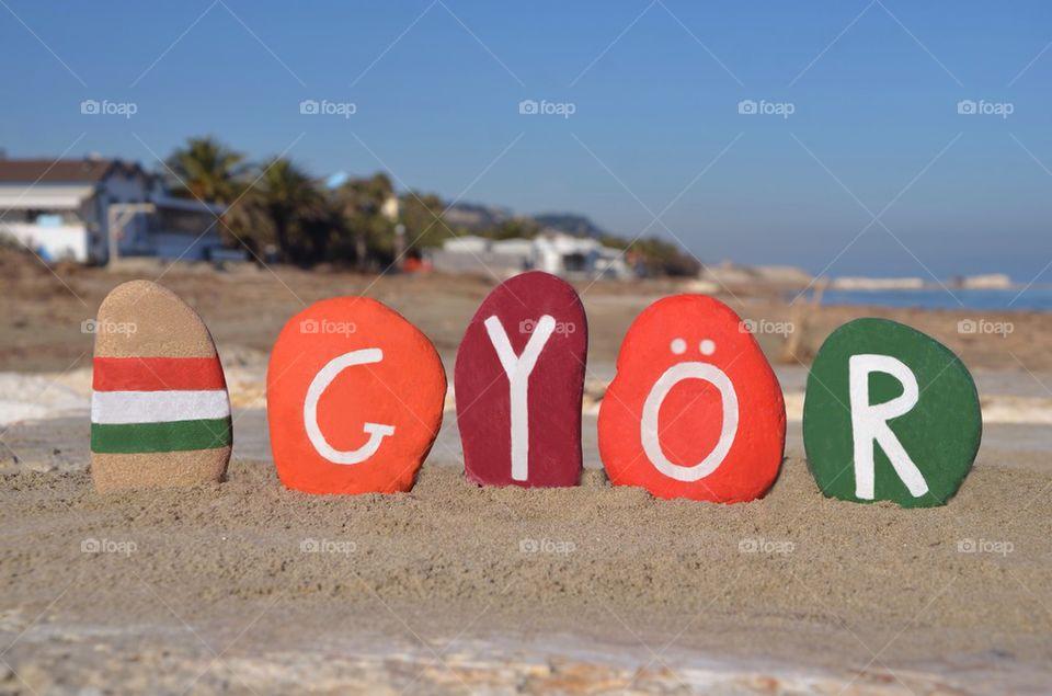 Győr, souvenir on colourful stones