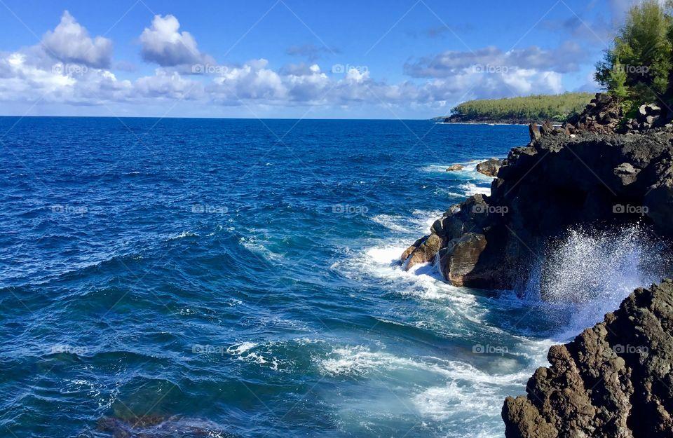 Waves and sea spray on the Big Island