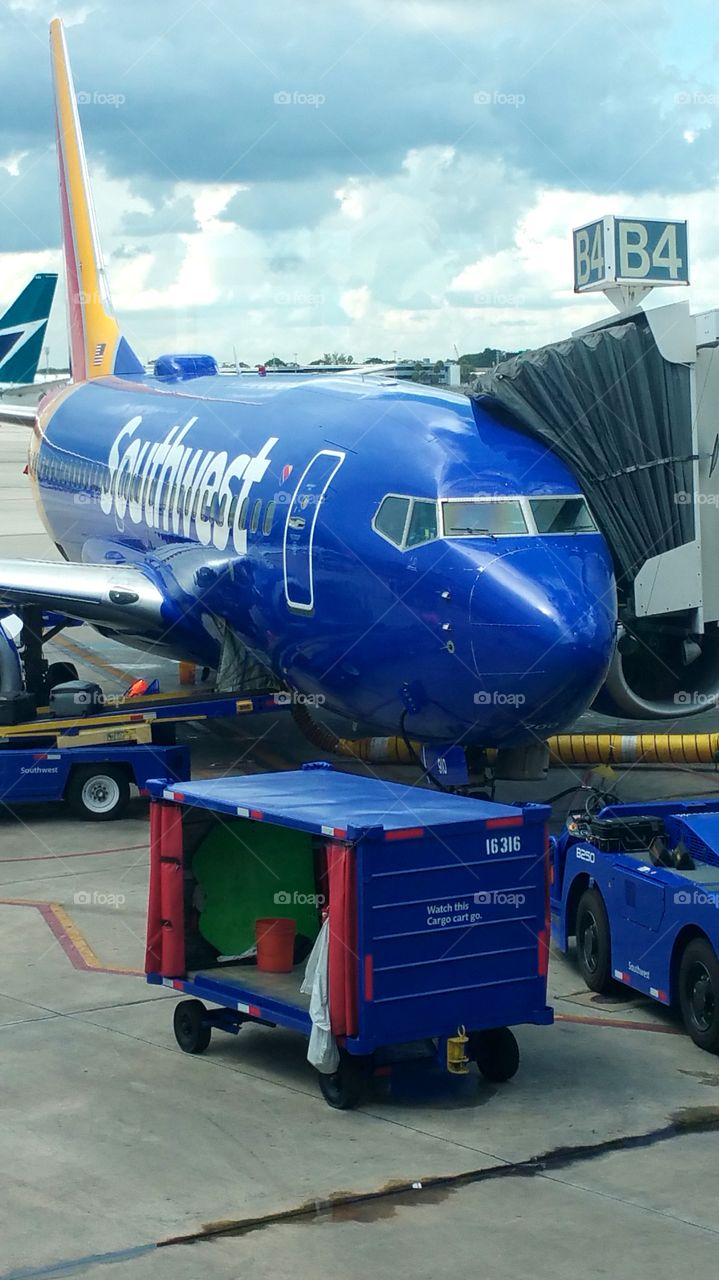 Southwest airlines getting serviced for takeoff Fort Lauderdale