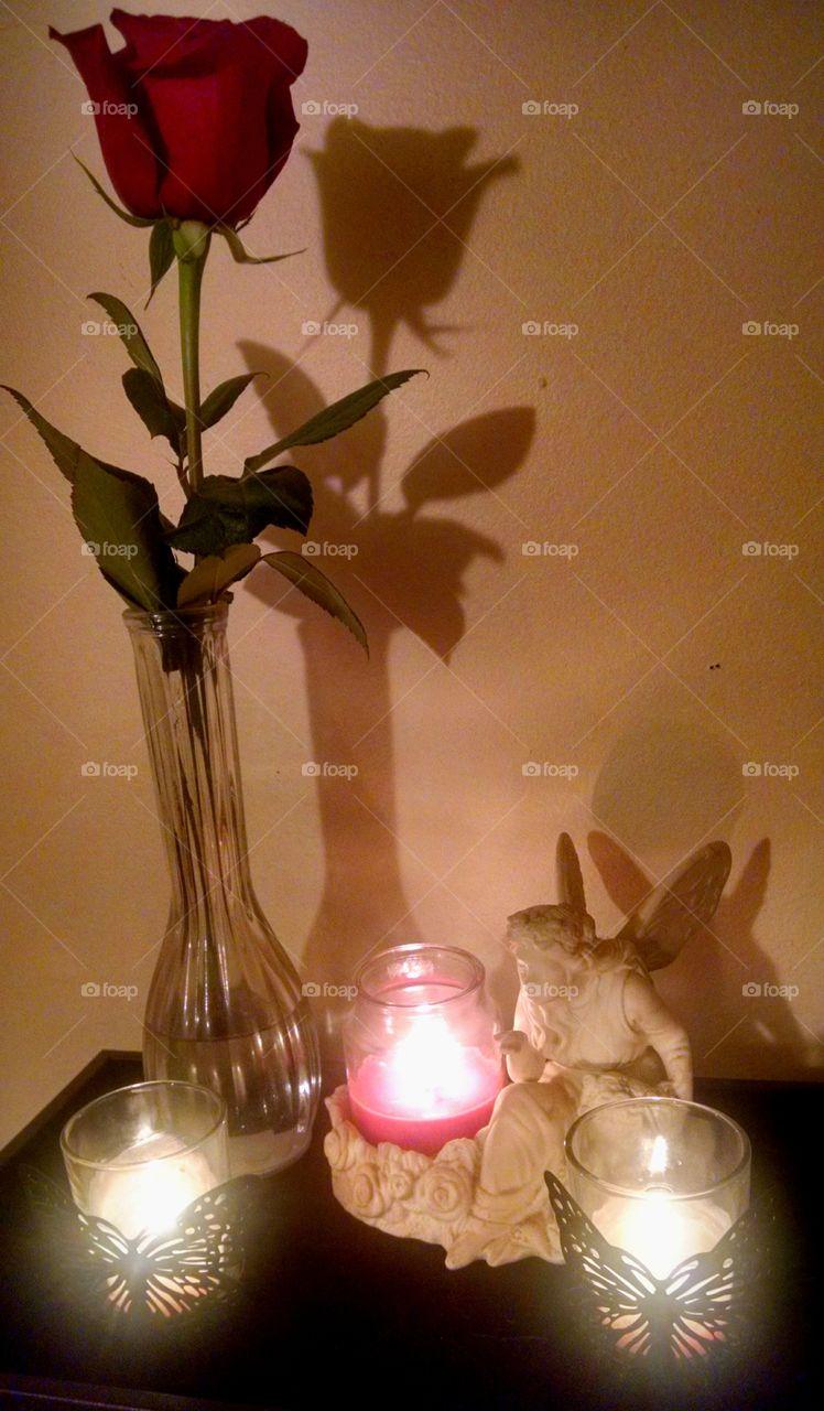 candlelit rose. a random romantic night
