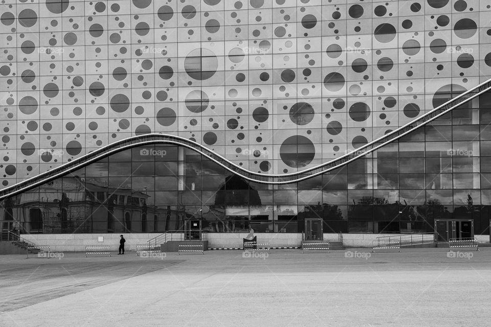 Moscow aquarium building black and white