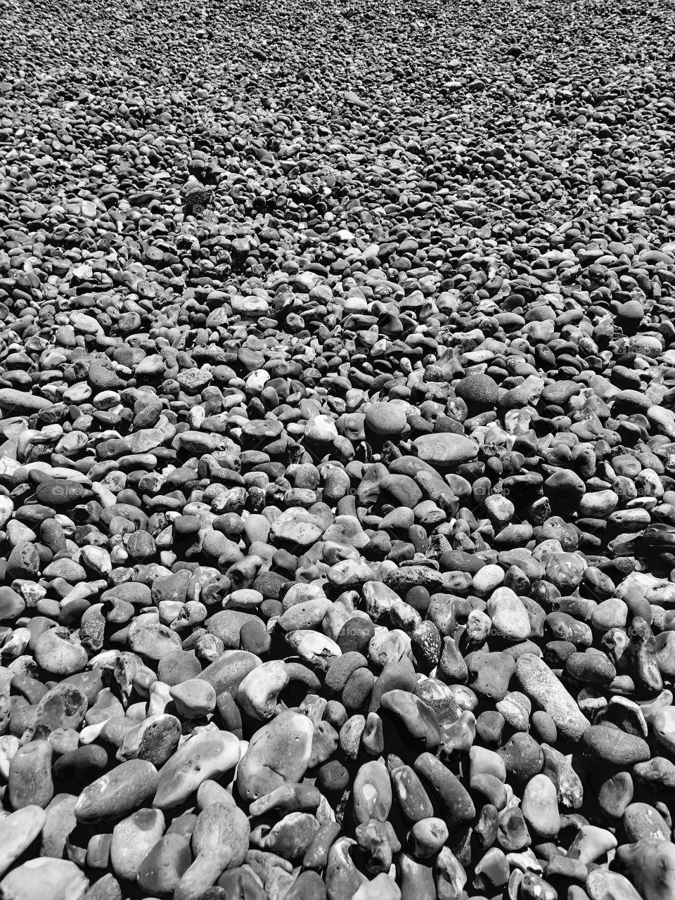 A closeup of the smooth texture of rocks on a beach