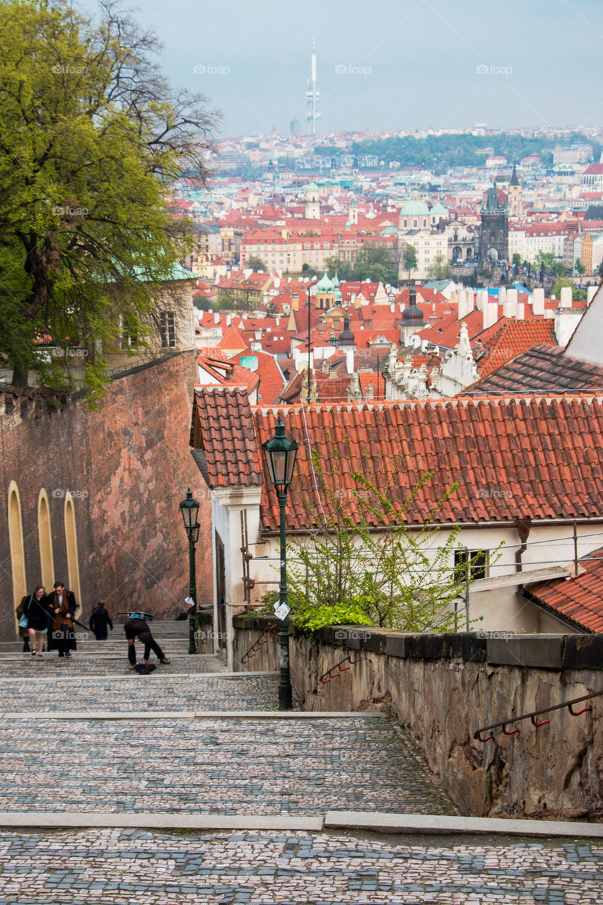 Red roofs of Prague city