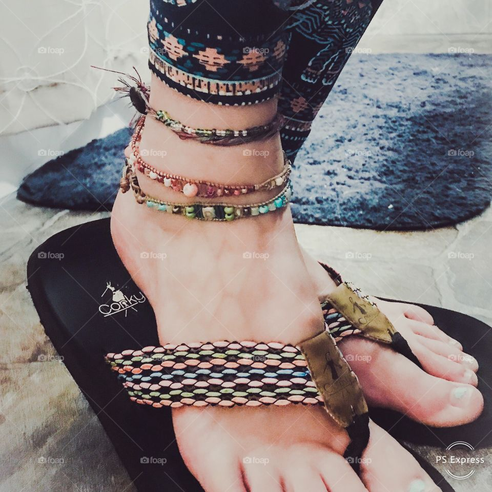 Handmade ankle jewelry matching complimentary to shoes and leggings flip flops toes and bare feet