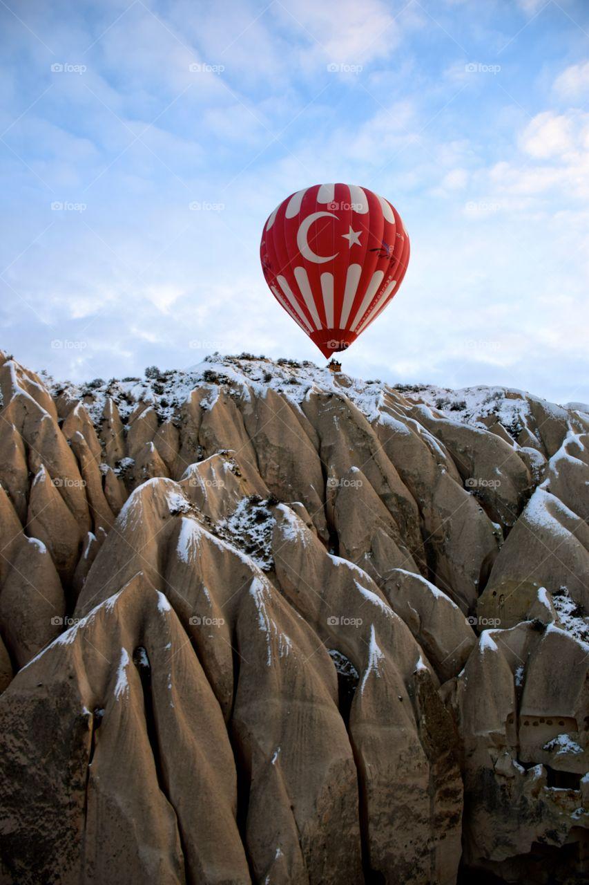 Hot Air Balloon flight at cappadocia Mountains, turkey