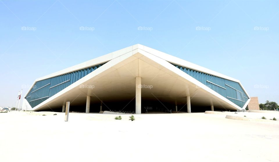 The Qatar National Library building in Doha, Qatar