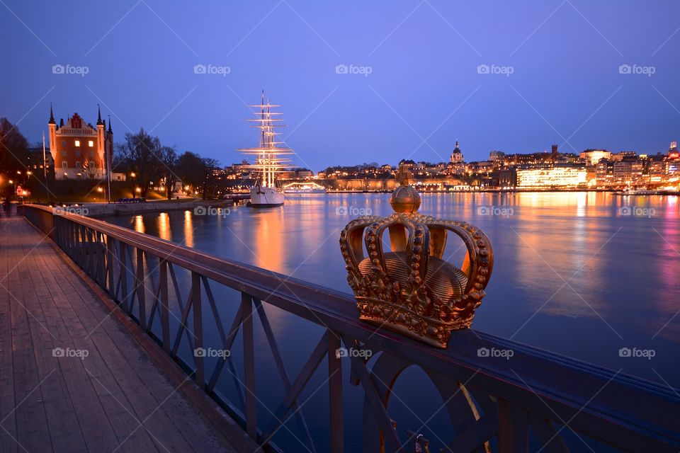 Skeppsbron and Skeppsholmen in Stockholm by night