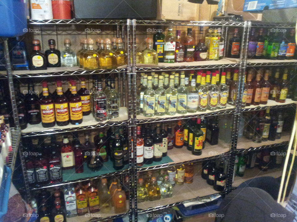 wall of booze. a wall of liquor