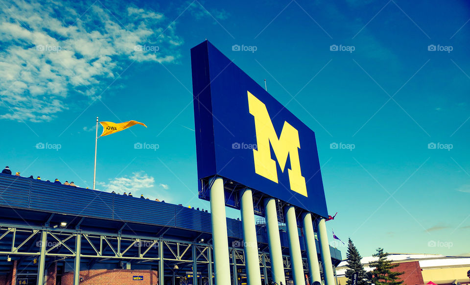 University of Michigan, Blue and Maze on a beautiful sunny day in Ann Arbor.