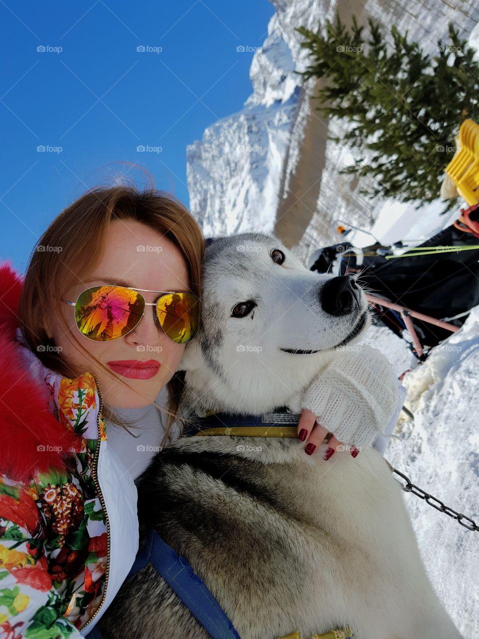 Stylish woman with cute dog