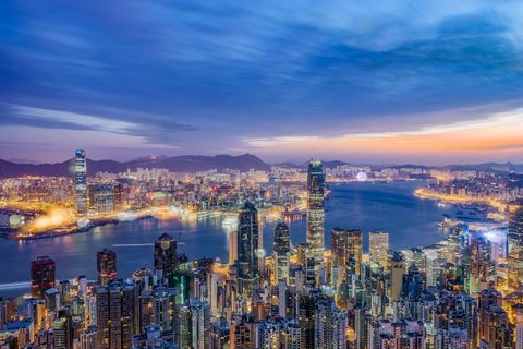High angle view of Hong Kong skyline during sunset