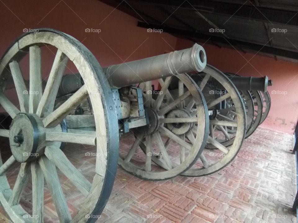 Ancient canons kept in Qila mubarak (fort) at City Bathinda.