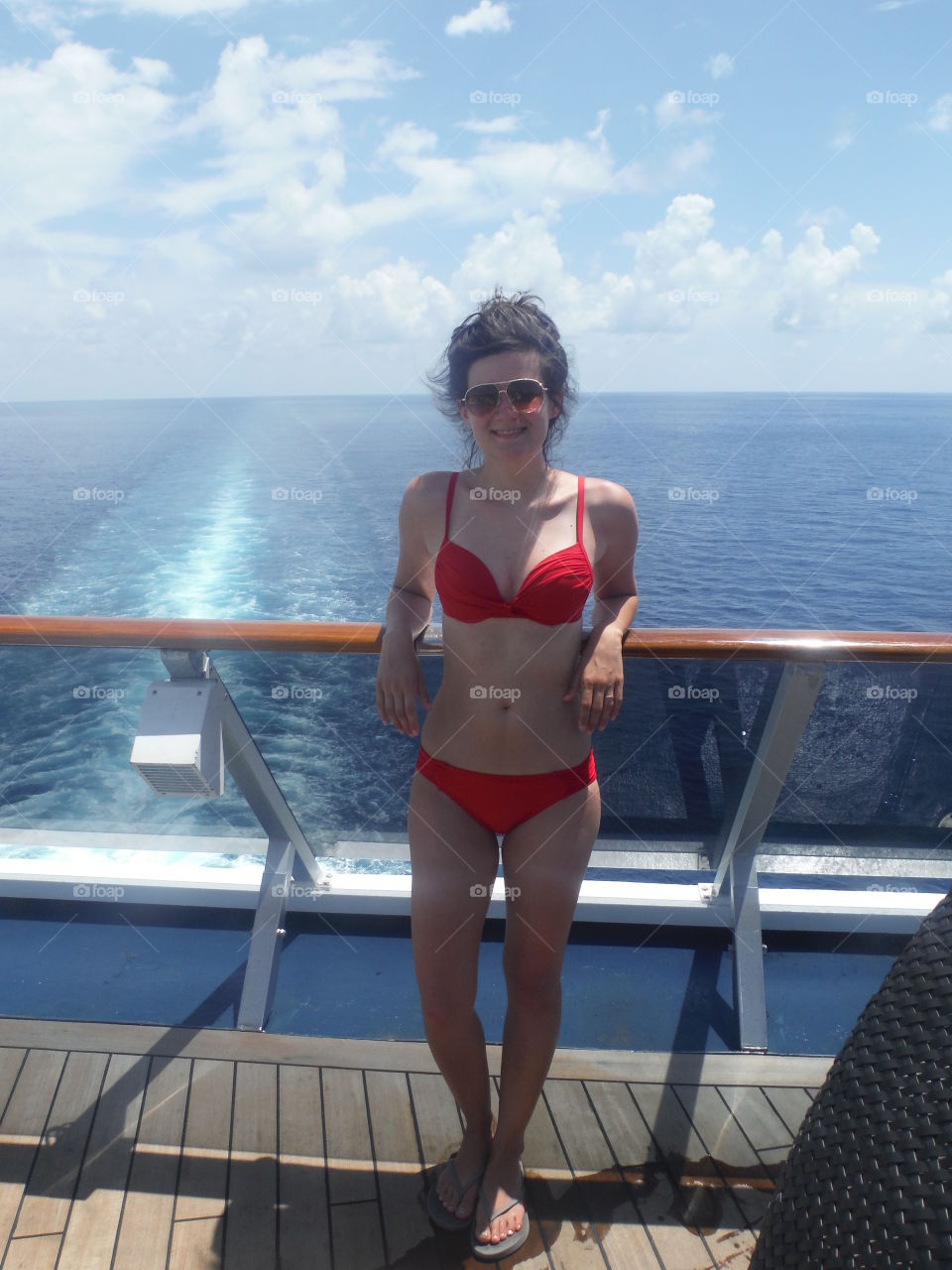 woman in red. cruise