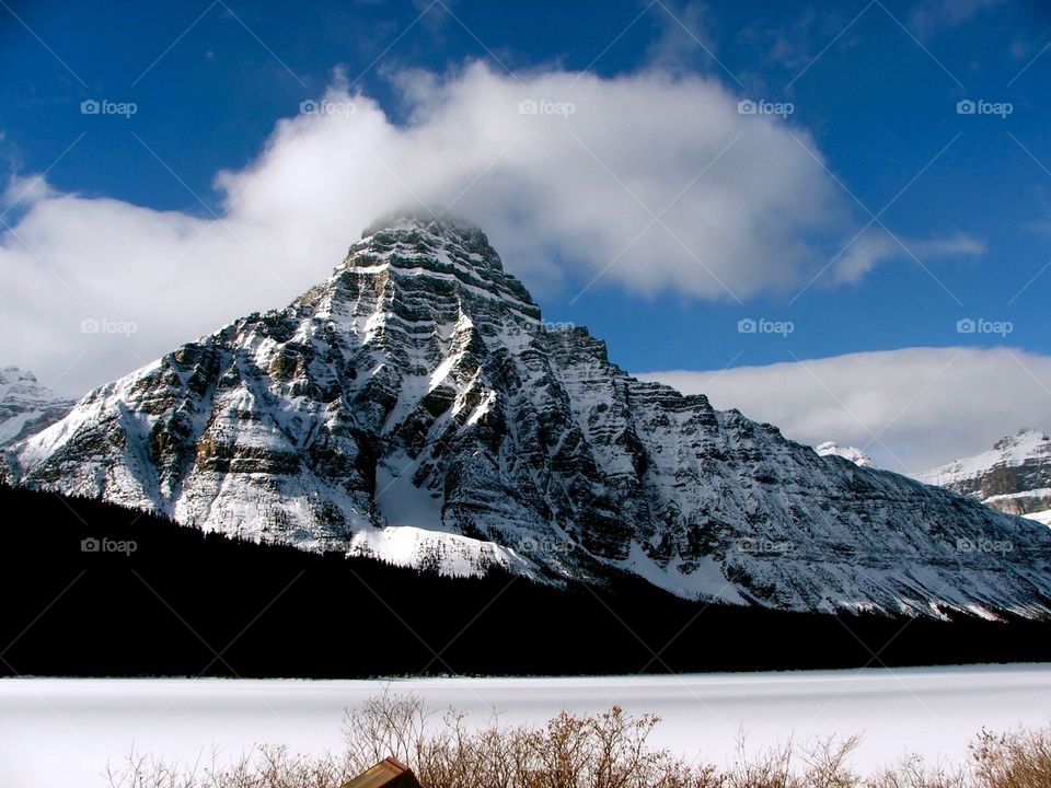 One of the peaks visible during the scenic drive along the Icefields Parkway in Alberta, Canada.
