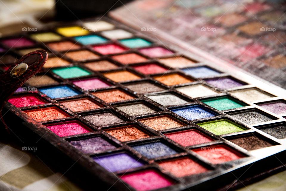 Multi colored eye shadow kit