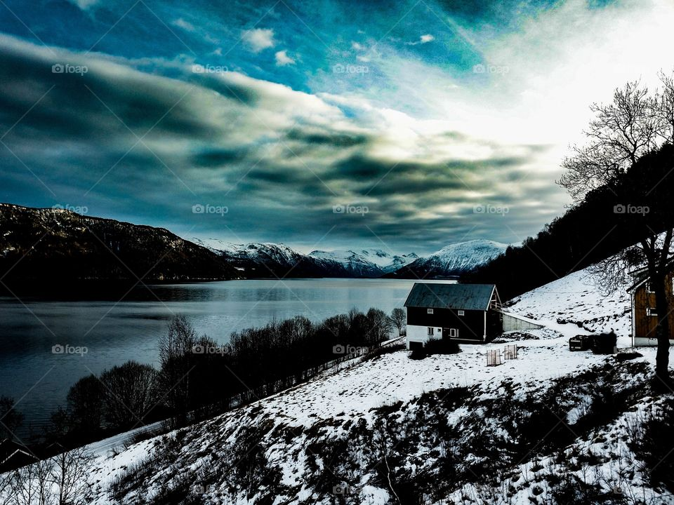 One cold winter morning here in Norway by the fjord.