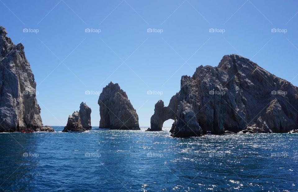 Blue calm sea in sunny day