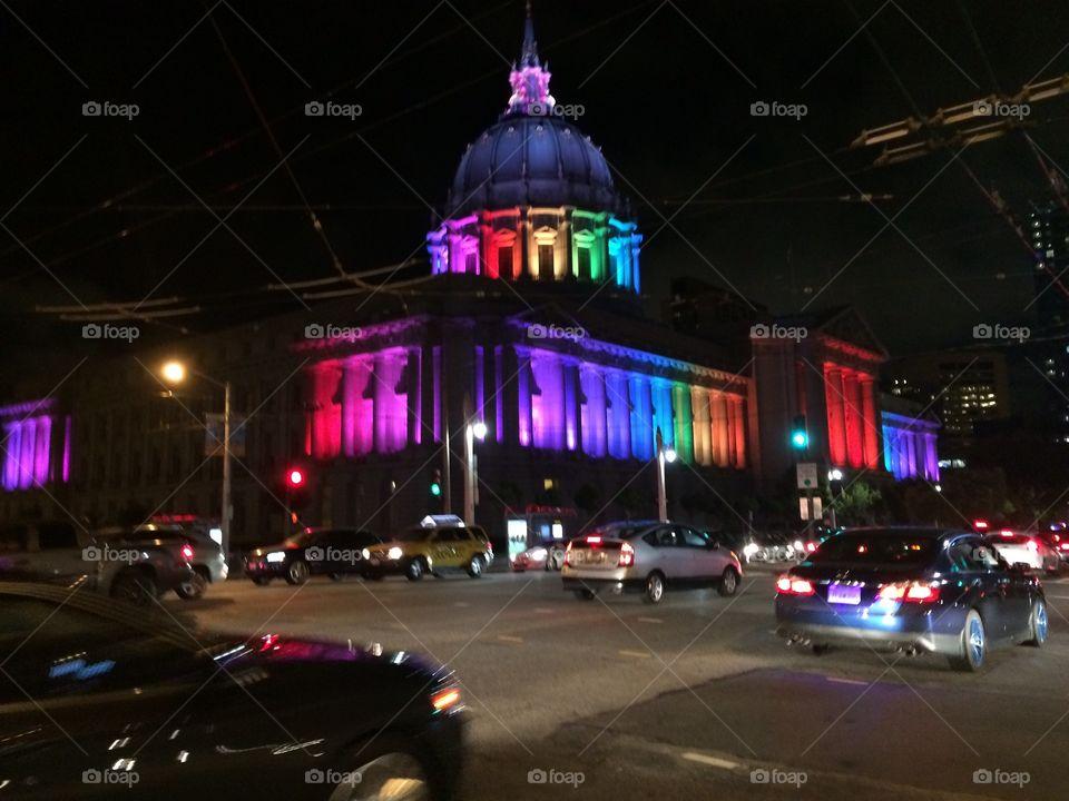 San Francisco city hall, gay pride 2015