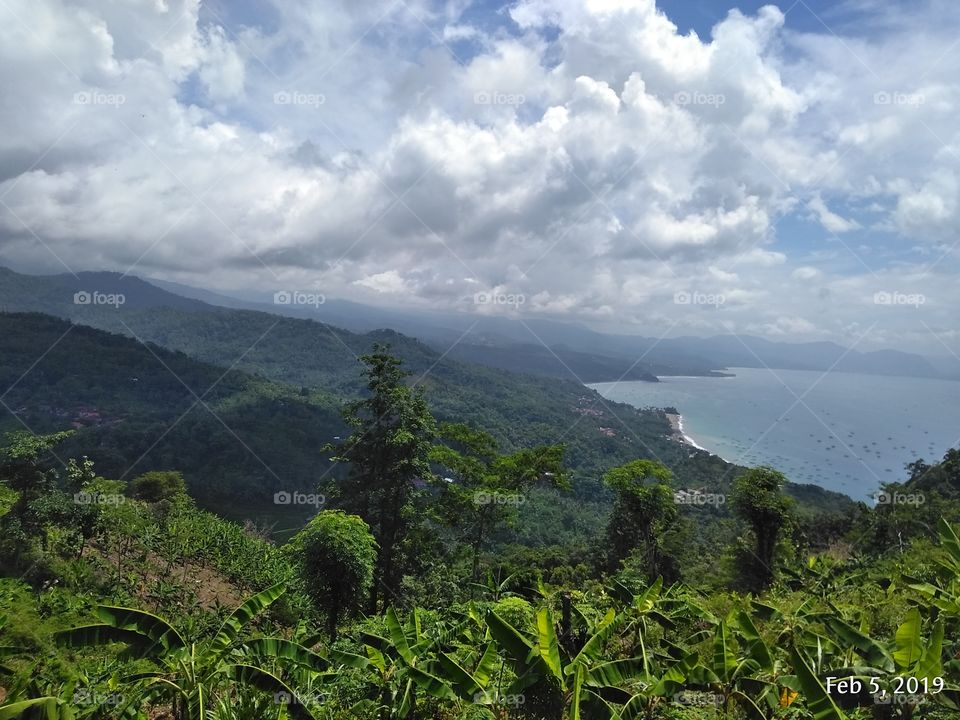 View from the top of hill Palabuan Ratu Beach - Sukabumi - West Java