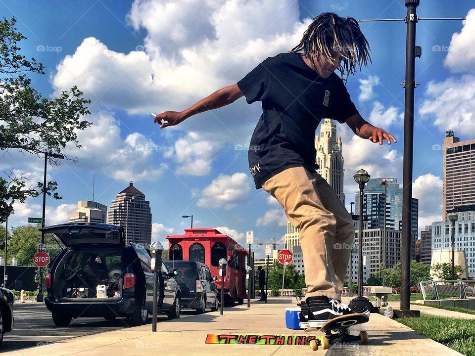 Skateboarding in the city.