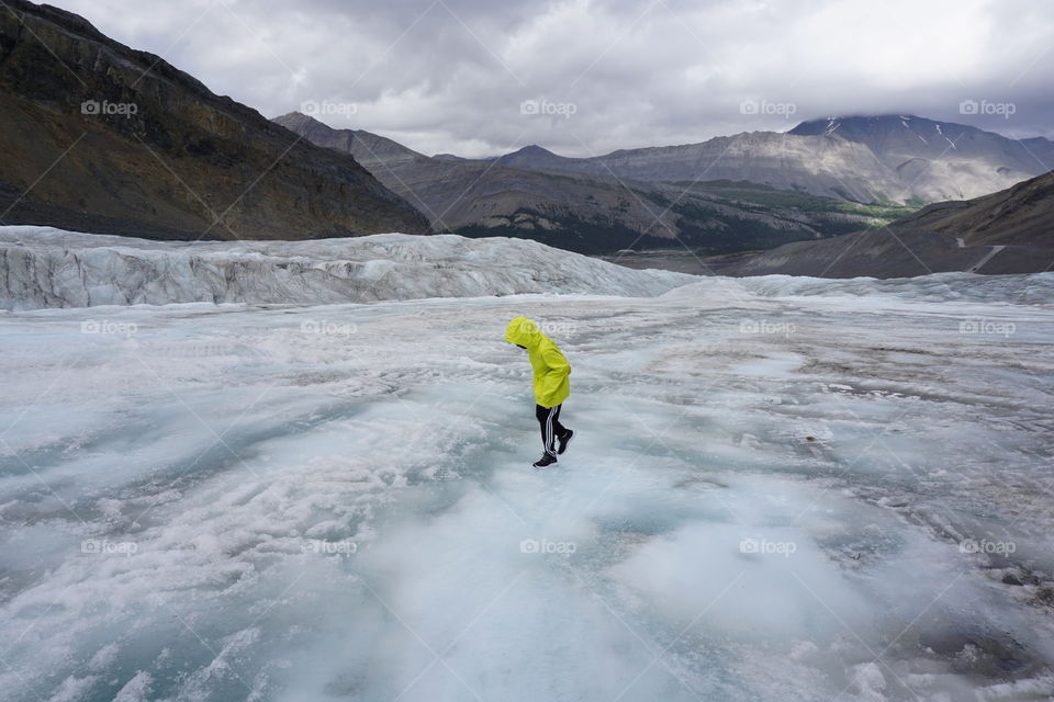 Walking on a glacier in Canada ...