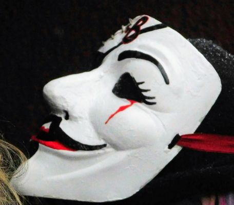 Anonymous mask with tear