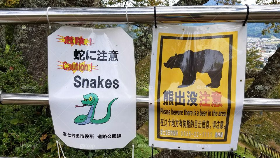 Snakes bears caution sign