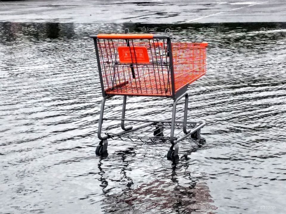 Lonely cart in rain water