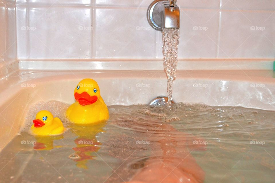 Rubber duckies in the tub. Bathtub fun with rubber duckies