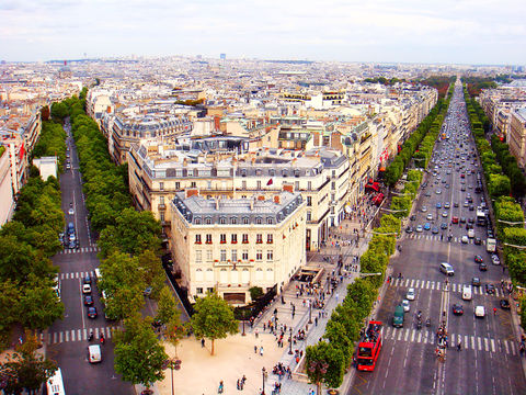 View of the Champs-Elysees seen from the Arc de Triomphe in Paris, France