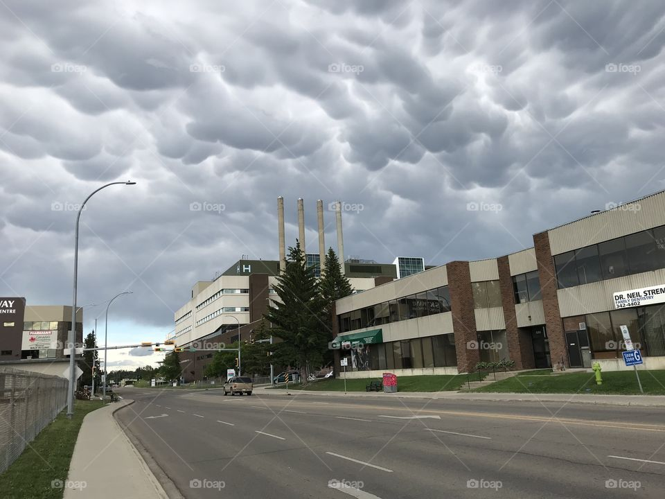 Storm clouds over the hospital.